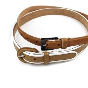 Talbots Womens Set of Brown Leather Belts Size XS